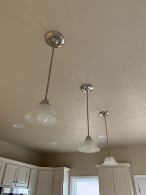 (3) Kitchen Island Pendant Light Fixtures- Brushed Nickel, White Frosted Glass for Sale in NO HUNTINGDON, PA