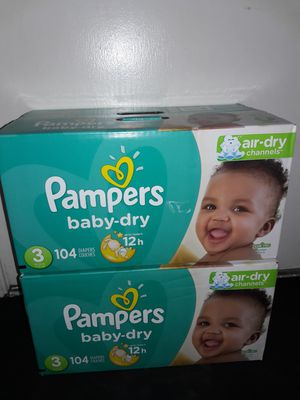 Pampers Baby Dry Size 3 (104 diapers): 2 boxes for $44 I will not accept less. for Sale in Garland, TX