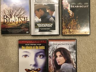 DVDs Big Fish, Broke back Mountain, Seabiscuit, Silence Of The Lambs, Premonition for Sale in Issaquah,  WA