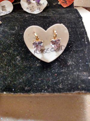ROSEGOLD DIAMOND (cz) HEART EARRINGS ,$25 for Sale in San Antonio, TX