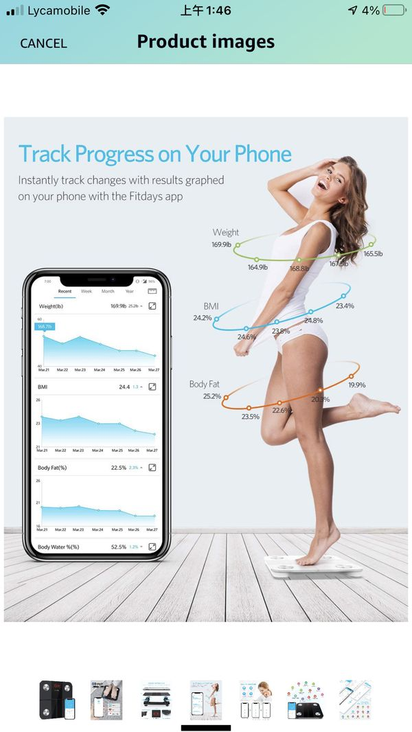 Body Fat Scale Smart BMI Scale Digital Bathroom Wireless Weight Scale, Body Composition Analyzer with Smartphone App with Bluetooth, 400 lbs - Black