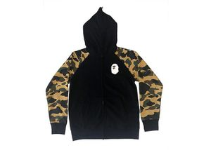 BAPE Premium Happy New Year 1st Camo Sleeves Full Zip Hoodie (Ss20) Black/ Yellow for Sale in Los Angeles, CA