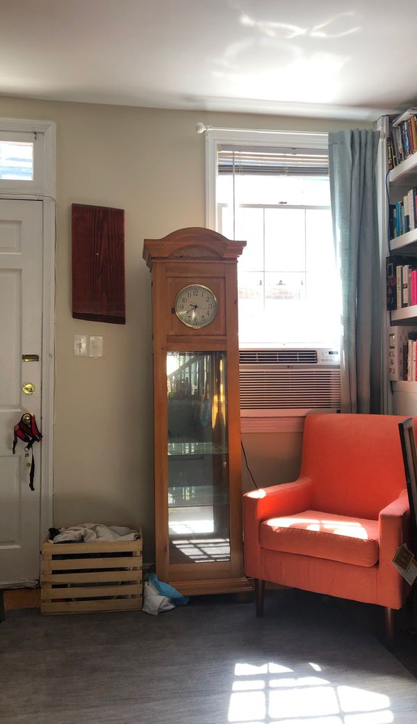 Wood and glass display case w/ clock
