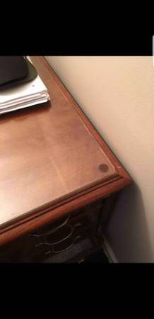 Antique Wood Executive Desk w/ Glass Top for Sale in Arlington, VA