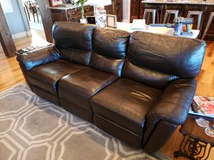 Power Reclining Real Leather Couch for Sale in Marshfield, MO
