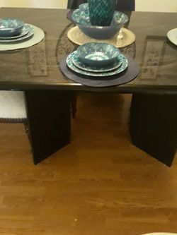 Black w/marble Dining table (ONLY) for Sale in Chesterfield,  MO