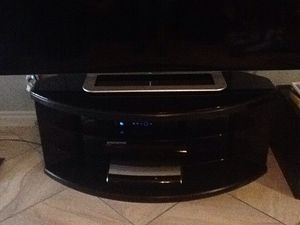 Black Oval TV Stand with Glass for Sale in North Las Vegas, NV