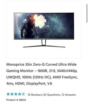 Monoprice 35in Curved Monitor 3440x1440p (120Hz OC) for Sale in Orlando, FL