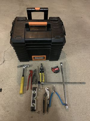 Ridgid rolling tools box + 9 pcs. hand tools and 1 tape measure for Sale in Burbank, CA