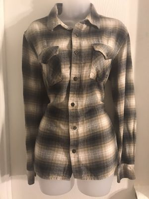 Vans Plaid Tan/Grey/Cream Button up Flannel Shirt Small for Sale in Oceanside, CA