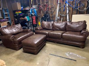 real leather couch and chair and ottoman for Sale in Ostrander, OH