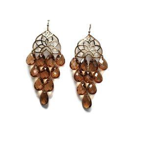 Gold Tone Topaz Rhinestones Chandelier Dangle Earrings Teardrop for Sale in Temecula, CA