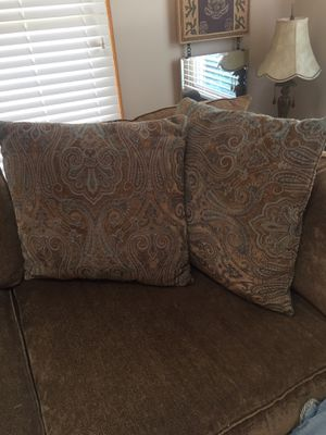Price reduced! Two large pillows; $25; $35 takes all 4. Elegant for any couch or bed! for Sale in Galena, OH