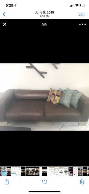 Leather couch 7 .5 f x 2.10 f. Coffee table 3 x3 feet end table 2x2 feet white roller ottoman 3 1/2 f x 1 feet for Sale in Tamarac, FL