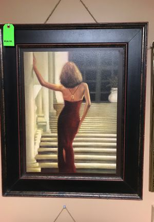 Large frame lady painting wall decor for Sale in San Antonio, TX