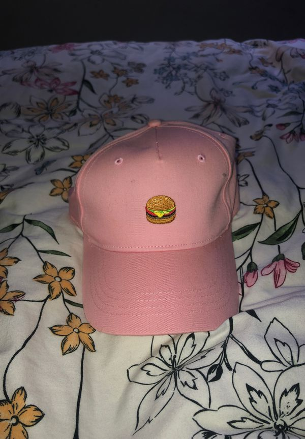 Pink burger baseball hat
