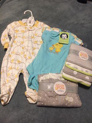 10 piece NWT Baby Lot! Onesies, burp/blanket, sleep&play. NB&0-3 months for Sale in Hendersonville, TN