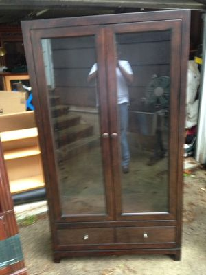 Wood cabinet with glass shelves for Sale in North Bethesda, MD