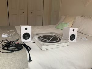 Audio technica record player and speakers for Sale in Newton, MA