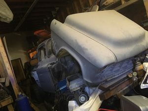 1955 chevy truck with frame on frame upgrade 88 k5 blazer frame with quad shocks 19 inch lift with 44s on it and 94 chevy stepside bed om itcand it for Sale in Renton, WA