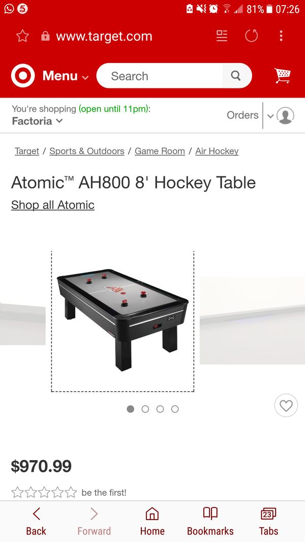 "Atomic Air Hockey Table Escalade Sports G04863W AH800 96"" ."