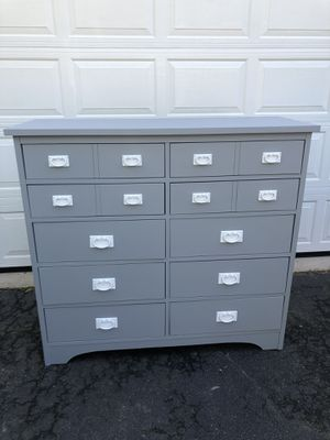 Large 10 Drawer Mission Style Dresser Made in the USA Gray With White Handles for Sale in Woodbridge, VA