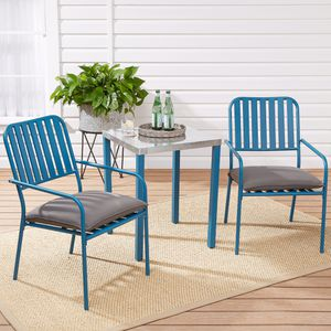 Modern 3-Piece Patio Chat Set with Gray Cushions (Purchase via PayPal Invoice with Free Shipping) for Sale in Philadelphia, PA
