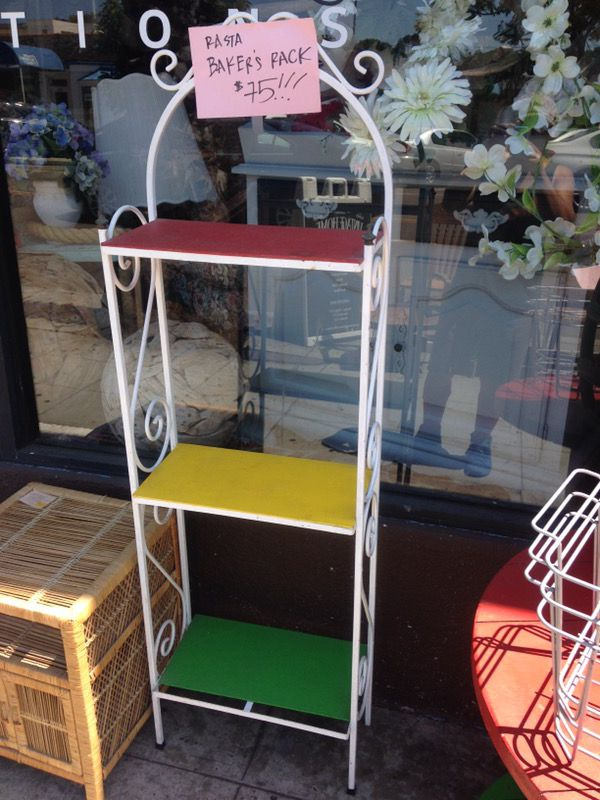 Vintage iron bakers rack rasta colors 17 by 9 by 60