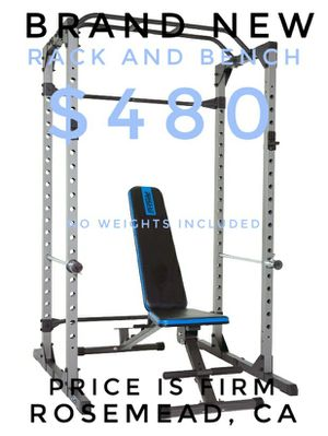 Super Max Power Cage Full Squat Rack Bench Press with bench, weights sold separately for Sale in Rosemead, CA