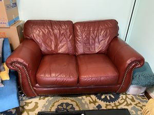 *MUST GO* - Leather Burgundy Love Seat for Sale in Temple Hills, MD