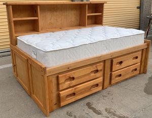 Nice Wooden Twin Captain Bed Frame w/ Mattress for Sale in Lakewood, CO