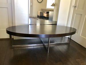 Copenhagen modern oval long coffee table wood silver chrome for Sale in Phoenix, AZ