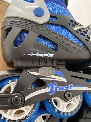 Tracer Roller Derby Boy's Adjustable aniline Skates Medium Size 2-5 Blue Gray for Sale in Orlando, FL