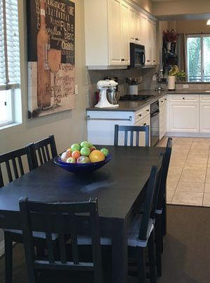 Extendable Rectangular Dining Table ( Ikea: Bjursta Model) & chairs for Sale in San Diego, CA