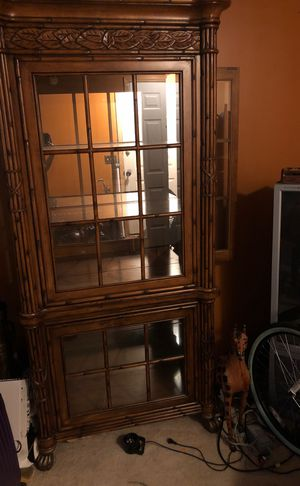 Wood cabinet with glass shelf for Sale in Columbus, OH