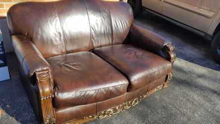 Ashley Real Leather Bristan style Loveseat Small Couch for Sale in Florissant,  MO