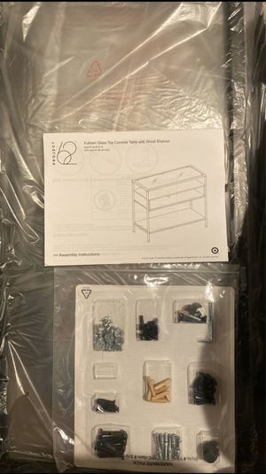 Brand New Glass Top Console Table w/ Wood Shelves for Sale in Los Angeles, CA