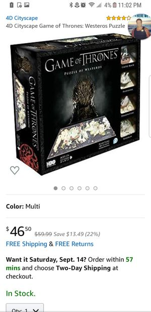 Game of thrones 3d puzzle, new never opened for Sale in Ludlow, KY