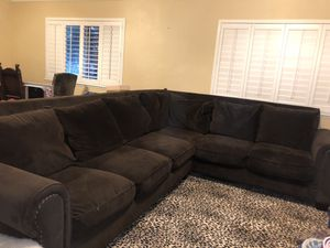 brown, suede, sectional couch for Sale in Lemoore, CA