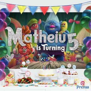 6x6 Personalized Trolls Birthday Backdrop Banner for Sale in Riverside, CA