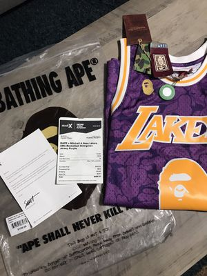 Bape X Mitchell n Ness Lakers Jersey (purple) for Sale in YSLETA SUR, TX