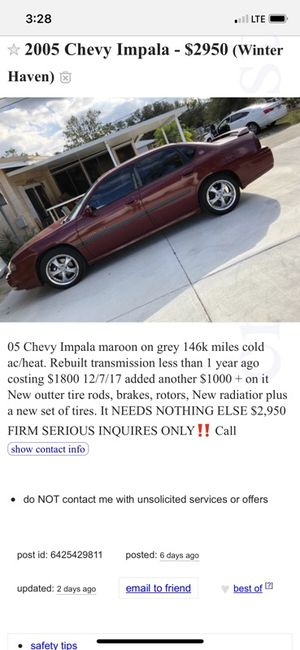 2005 Chevy Impala 146k Miles for Sale in Winter Haven, FL