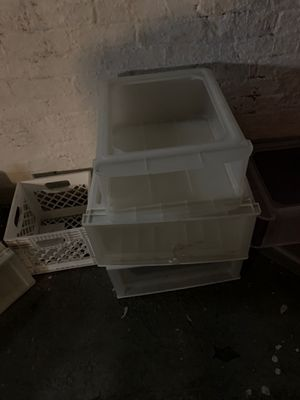 Plastic bins and crates for Sale in Evanston, IL