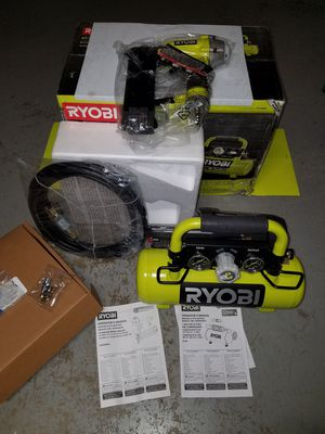 New cordless Ryobi 18v nailer and air compressor for Sale in Ashburn, VA