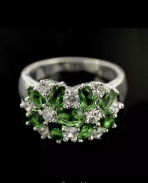 Trendy Jewelry Brand Design Bijoux Green Color Women Ring Plated Sterling Silver Rings size 7 $7 for Sale in Avondale, AZ