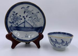 Antique Chinese Qianlong Blue and White Porcelain Teacup and Saucer 18th Century for Sale in Covina, CA