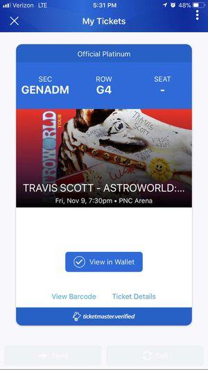 Travis Scott astroworld ticket for Sale in Raleigh, NC