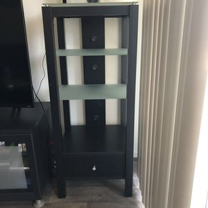 Two black shelving units, drawer and frosted glass shelves for Sale in Chandler, AZ