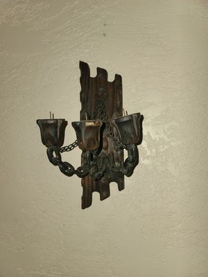 Wooden cabin style vintage candle holder candelabra sconce wall decor maid in Spain for Sale in Riverside, CA