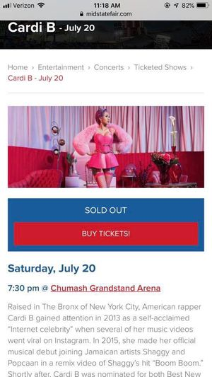 Cardi b tickets for Sale in Paso Robles, CA